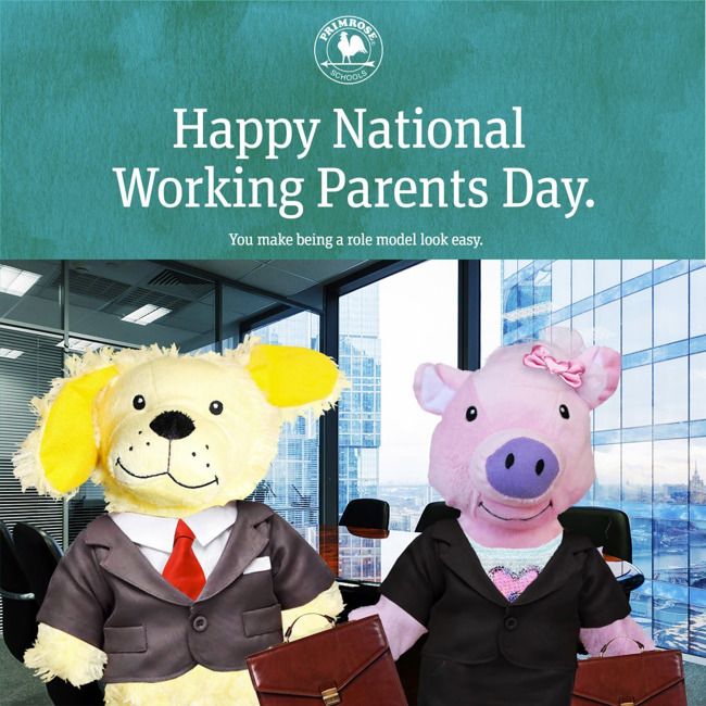 meggy the pig and erwin the dog dressed up as working parents
