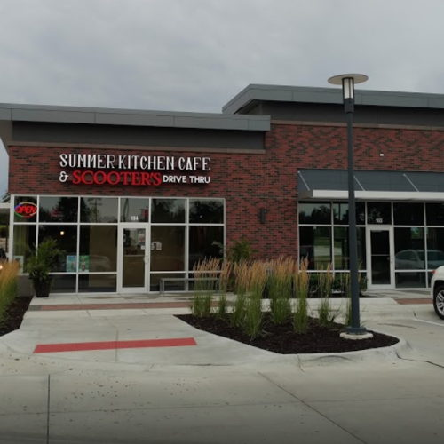 Picture of Summer Kitchen Cafe is open for drive-thru pickup at 6 a.m. each day. Scooter's Coffee is available.
