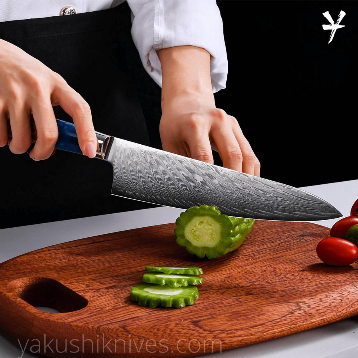 Damascus steel knife, japanese chef knife, best japanese kitchen knife, damascus chef knife