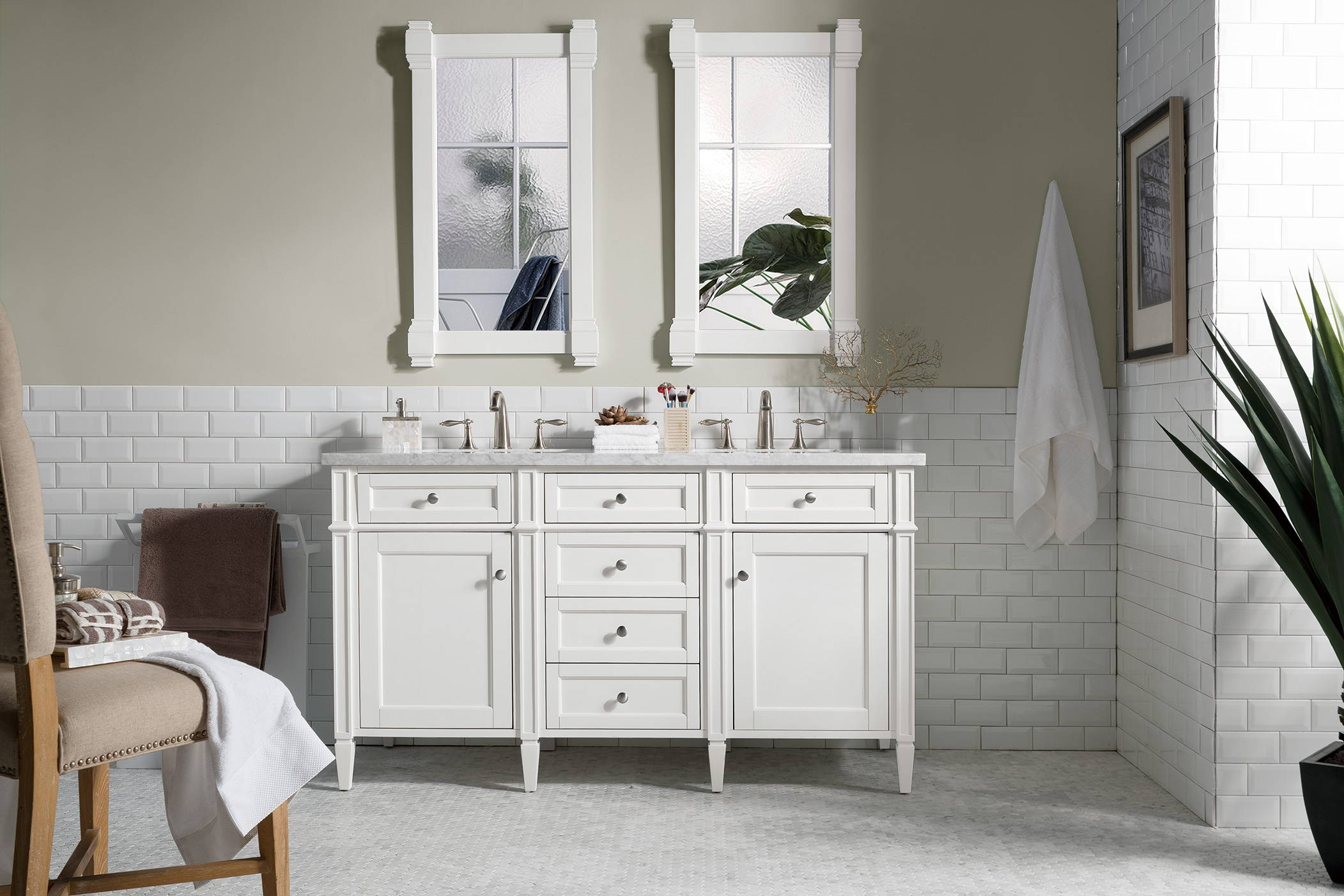 Brittany 60 Double Vanity Cottage White