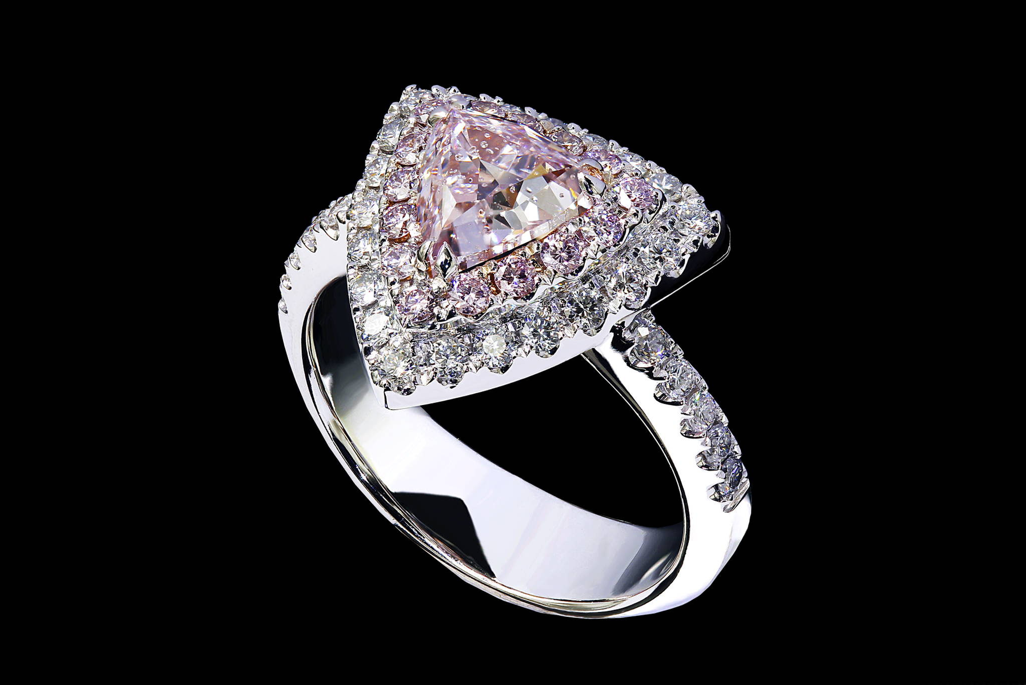 Rare Trilliant Cut Intense Pink Diamond Ring 45 degrees view