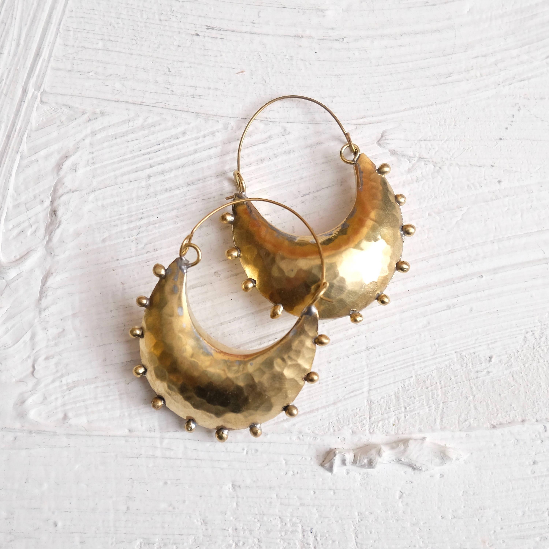 Hebba Crescent Brass Earrings