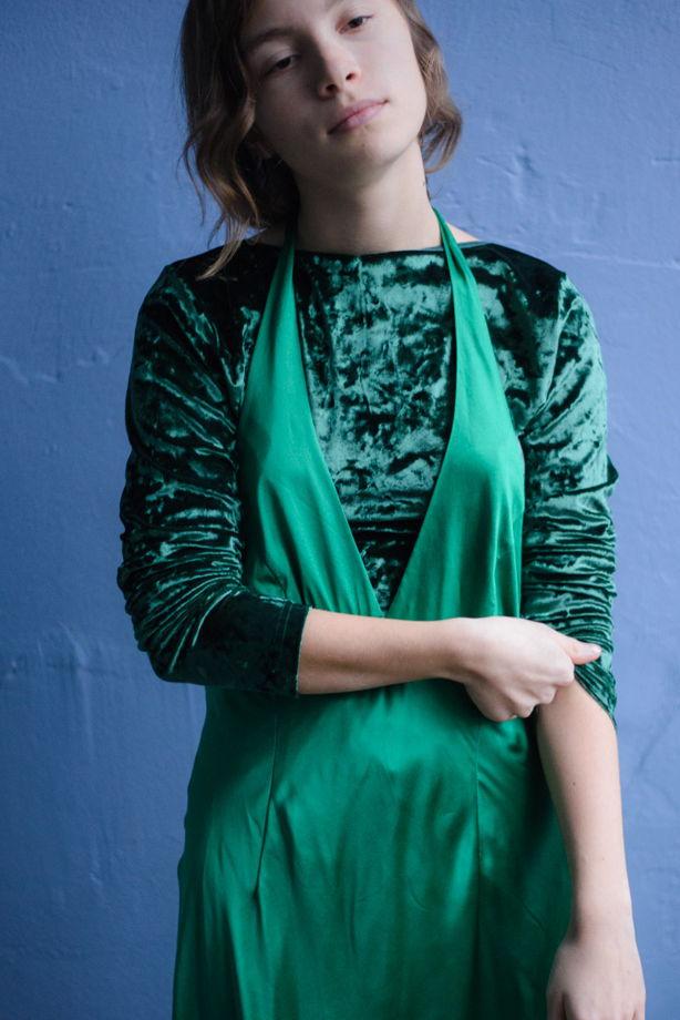 Изумрудный шелк, платье в бельевом стиле, платье-сорочка, платье-комбинация