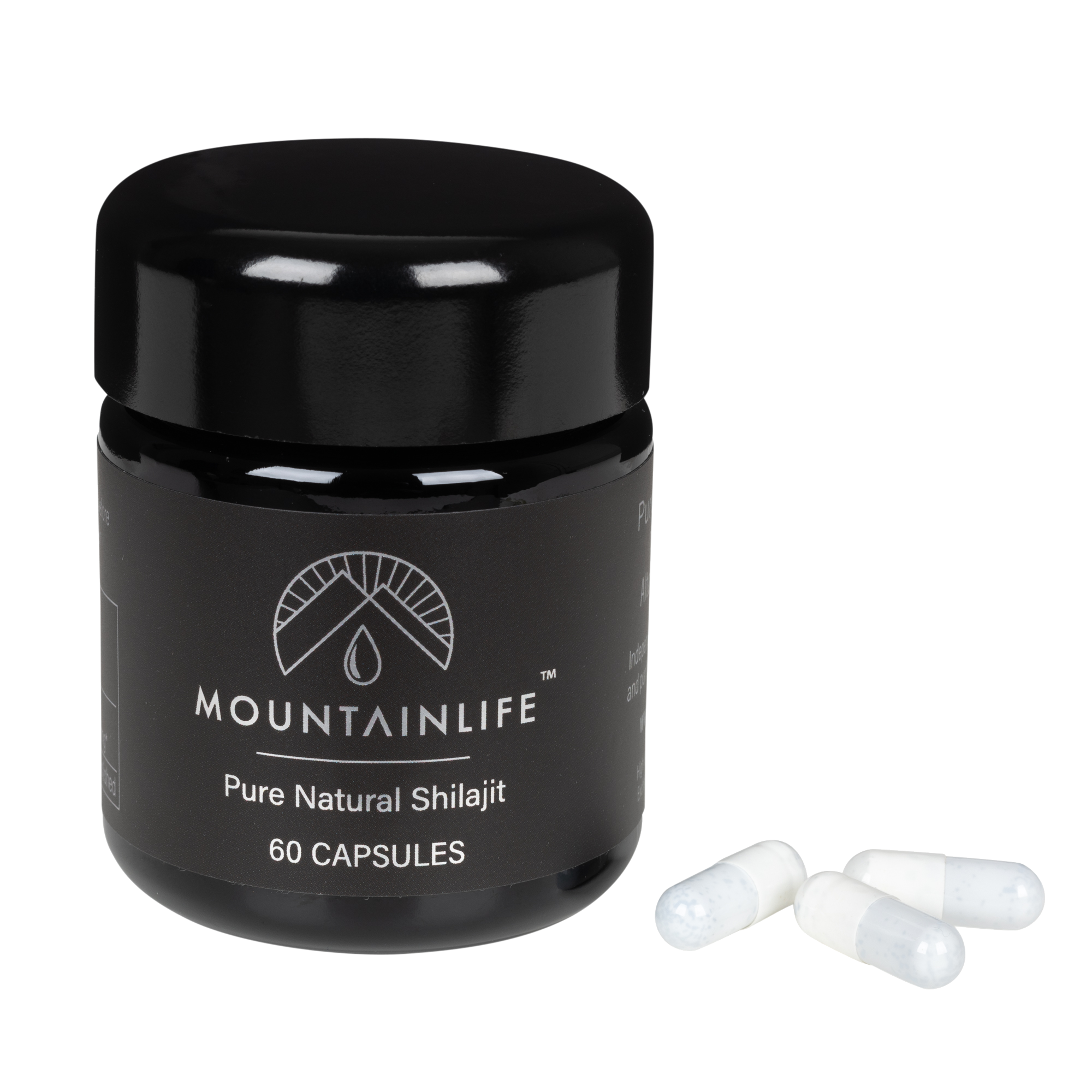 Mountainlife Natural Shilajit 60 capsules in UV glass jar with three capsules adjacent