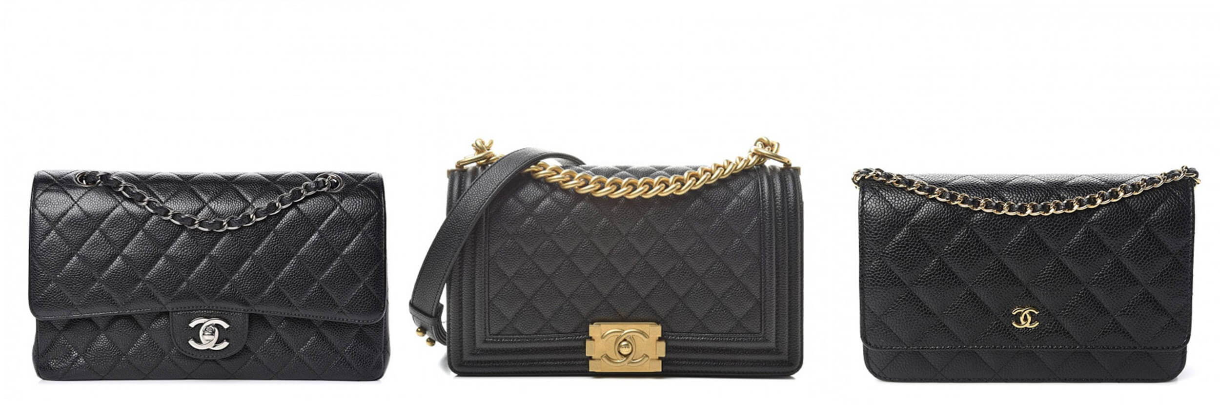 3 Chanel Bags: The Classic Flap, the Boy Bag and the Wallet-on-Chain.