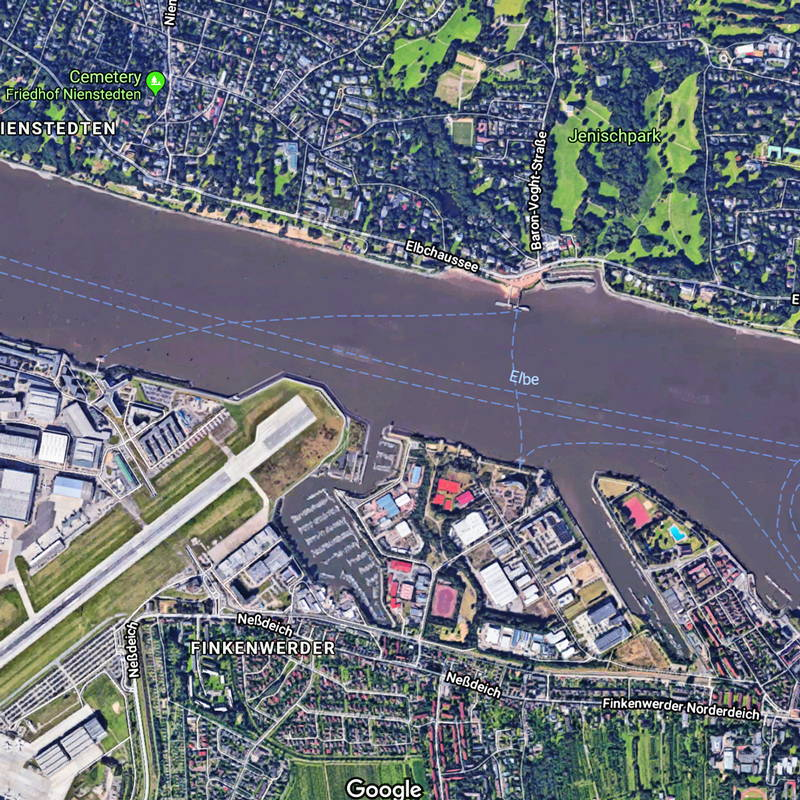 google map of Hamburg Germany for bridge challenge