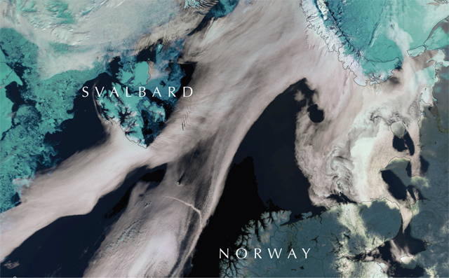 Stylized satellite image showing Svalbard, Barents Sea, and top of mainland Norway