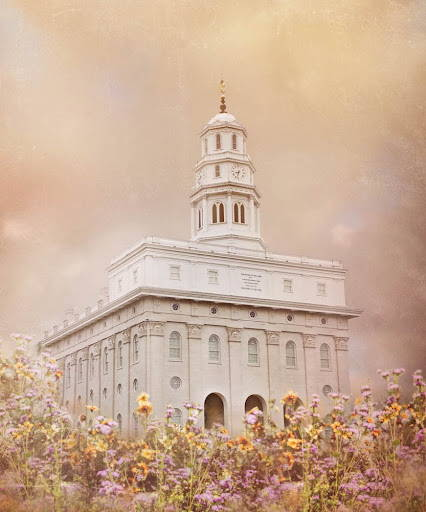 Nauvoo Temple surrounded by yellow and purple flowers. Sky is a cream color.