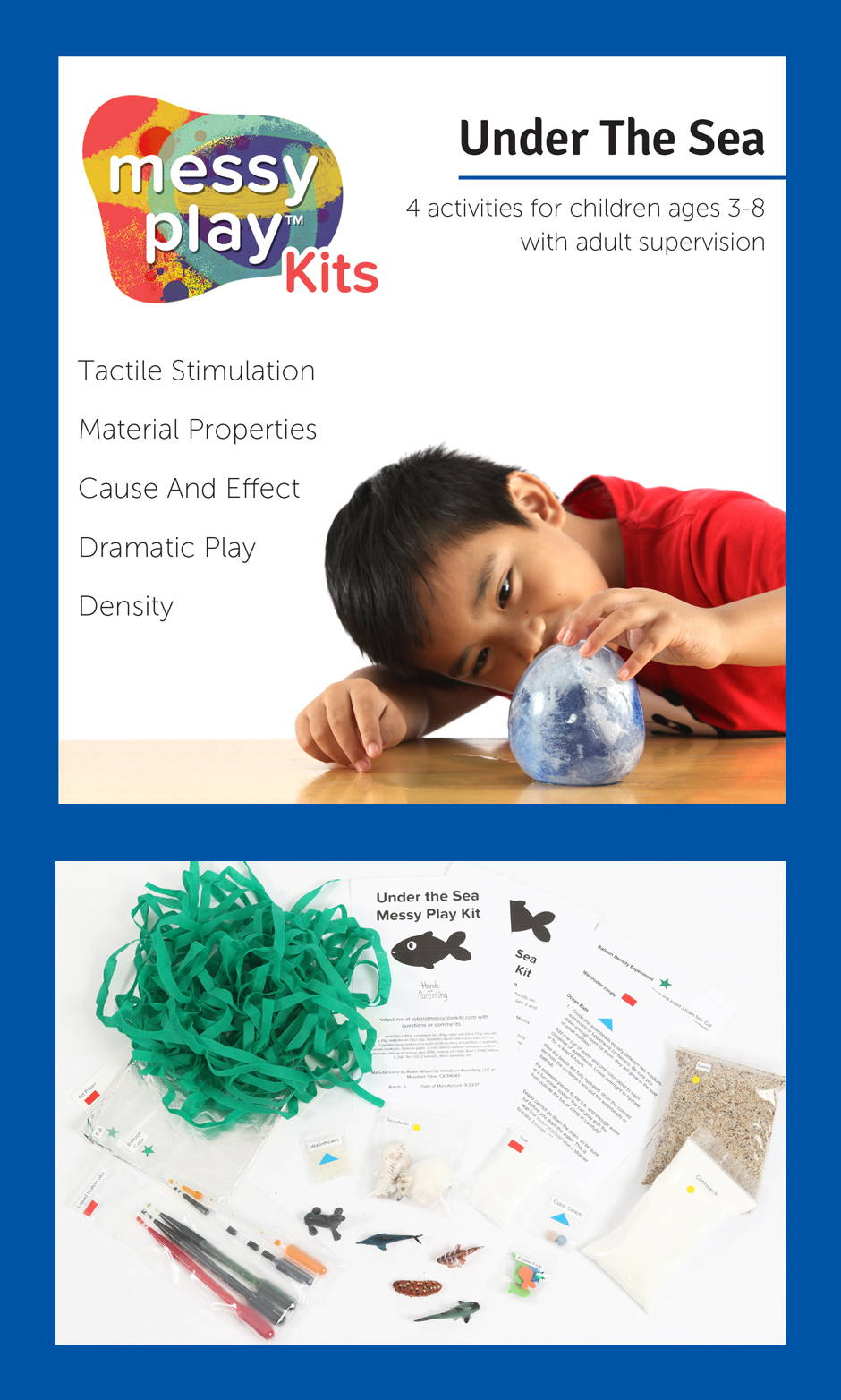 Under The Sea Messy Play Kit contains 4 activities that teach tactile Stimulation, material properties, cause and effect, dramatic play, and density.