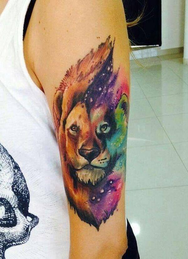 Tatouage Lion Criniere Multicolore Femmes