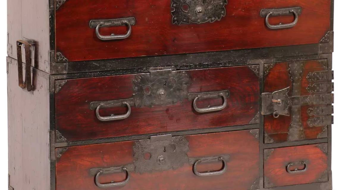 A Meiji period Japanese Tansu chest of drawers which is designed to seperate in half.