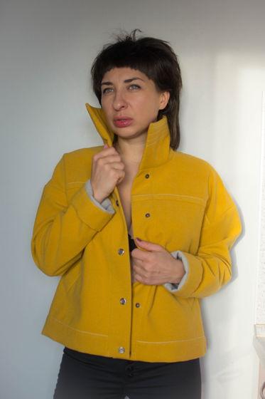 Укороченная куртка из желтой полушерстяной ткани BARBUS