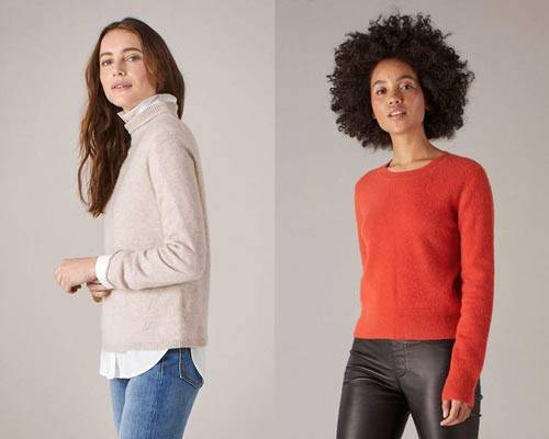 Woman wearing beige turtleneck cashmere jumper with white blouse beneath and indigo mid-wash denim jeans and woman wearing bright red crewneck cashmere jumper with black leather pants from sustainable cashmere jumper brand Naadam