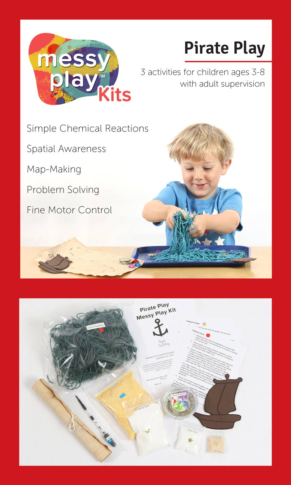 Pirate Play Messy Play Kit contains 3 activities that teach simple chemical reaction, spatial awareness, map-making, problem solving, and fine motor control