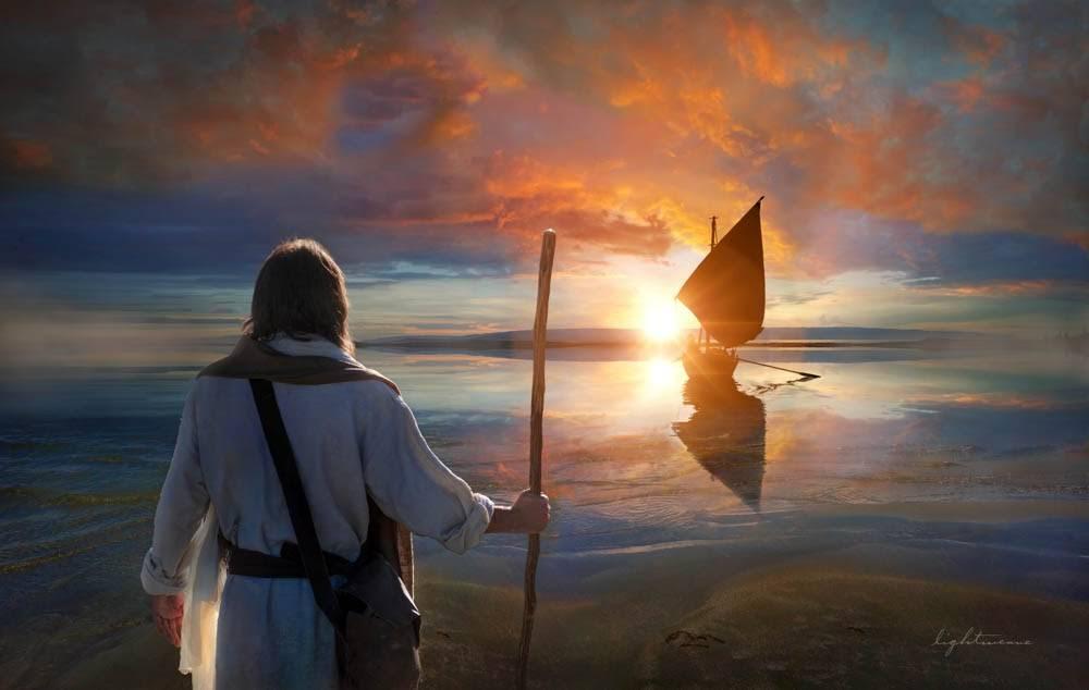 Jesus Christ walking on the shore toward the apostle's boat.