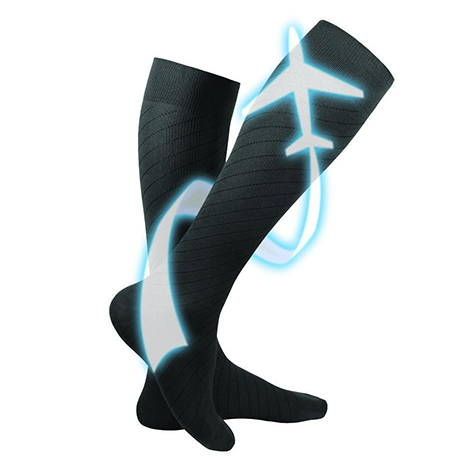 Knee High Closed Toe Travel Stockings With Plane Graphic Travelling Up The Leg