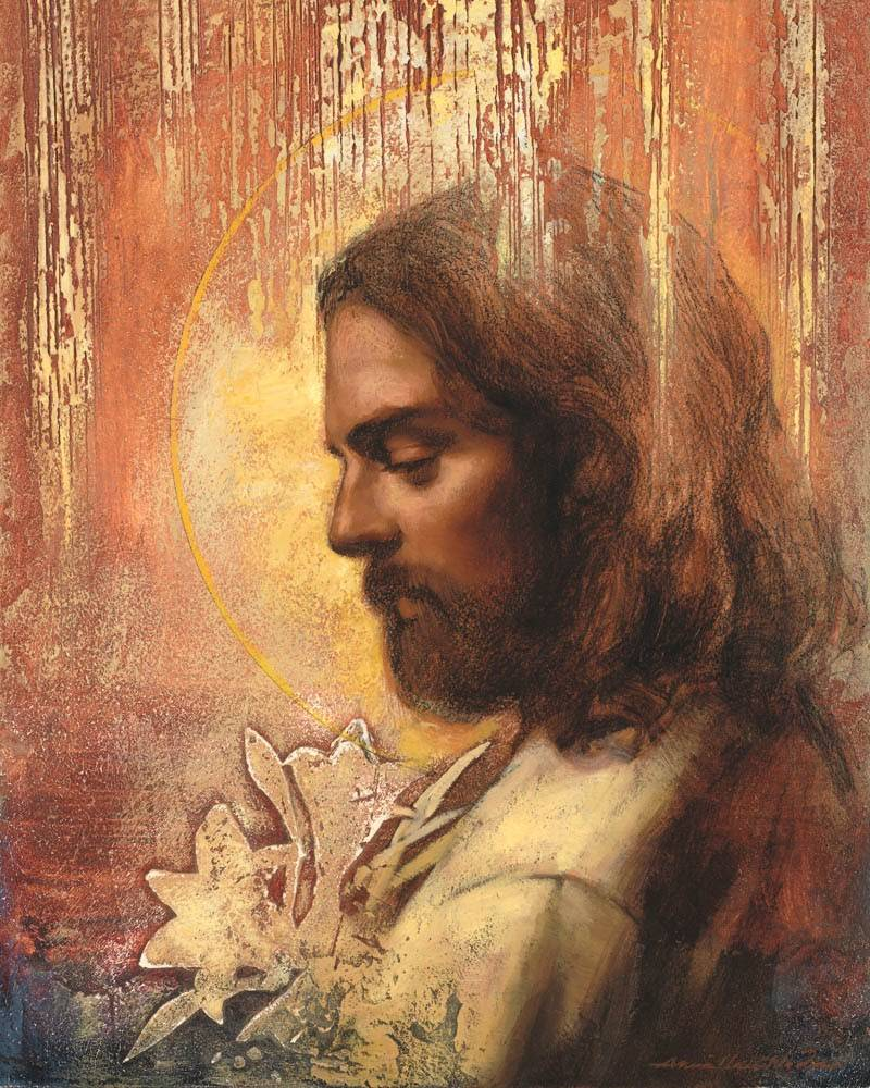 LDS art print featuring a profile portrait of Jesus Christ bordered by a variety of textures.
