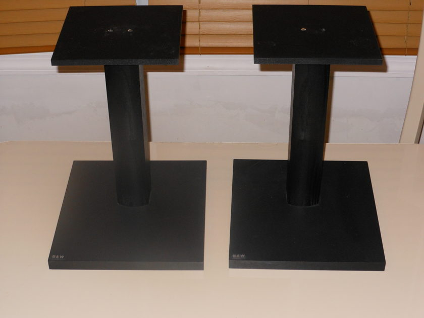 Speaker Stands in excellent condition with small b&w logo on front base Wood Stands  Stands Only   No Speakers