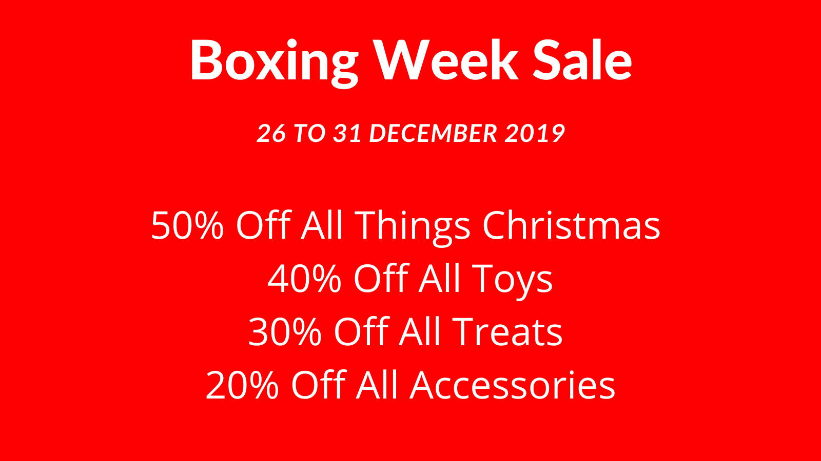 Boxing Week Sale