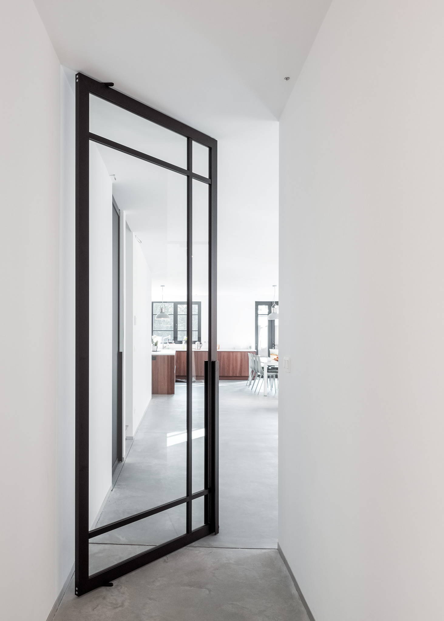 Glass pivot door with Stealth Pivot NL hinge system