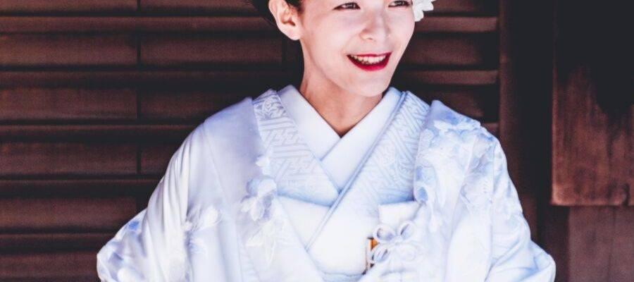 Woman Wearing a White Kimono Outfit