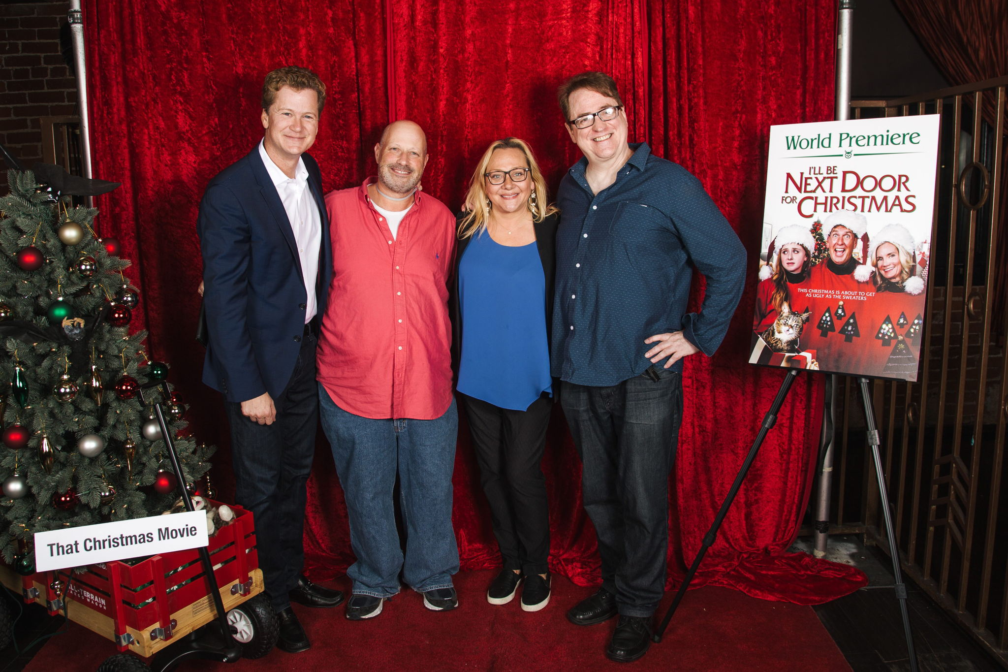 cast member jonathan mangum executive producer jay kogen cast membernicole sullivan and director david willis on the red carpet at the premiere - Christmas In Conway Cast