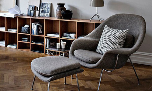 Modern Lounge Chairs on Sale featuring Knoll Womb Chair designed by Eero Saarinen