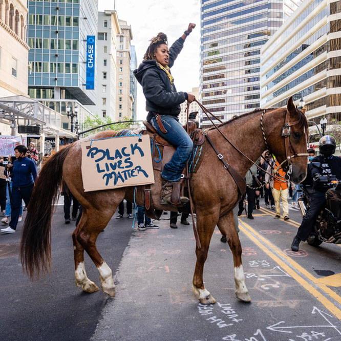 Photo of Brianna Nobel at a Black Lives Matter gathering in San Francisco