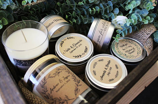 Custom label candles for weddings in basket