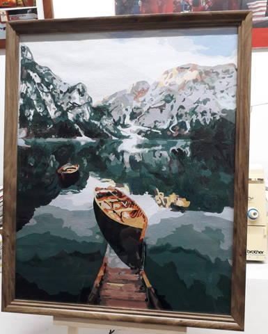 peinture par numeros client d'un lac de montagne