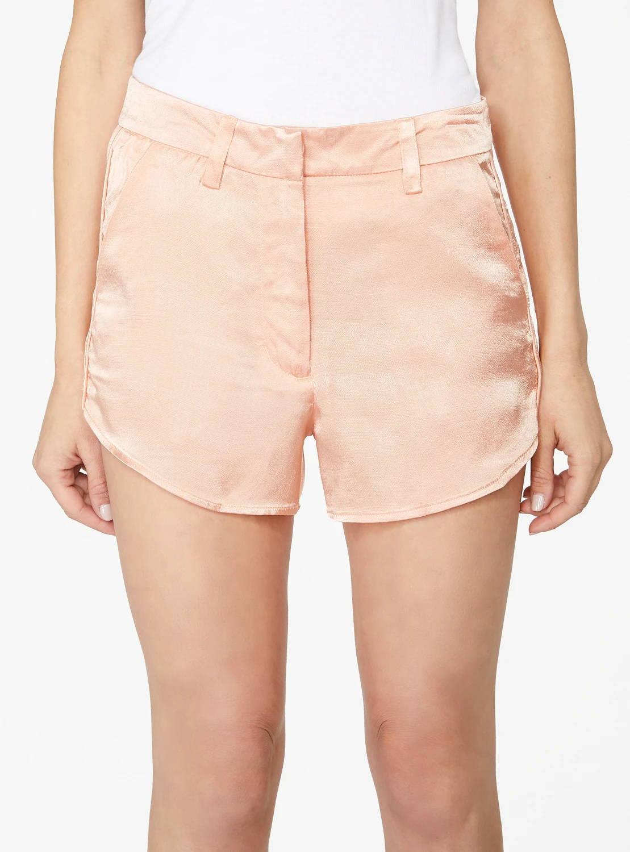 Peach Curved Hem Satin Shorts