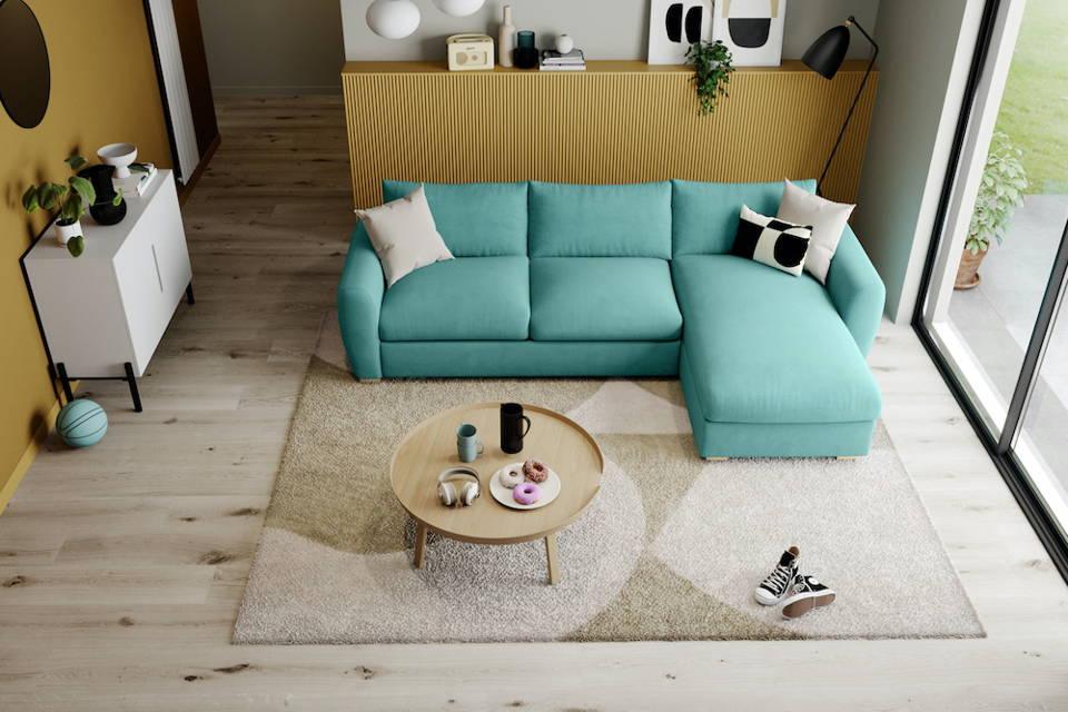 Snug Modern Chaise Teal Corner Sofa