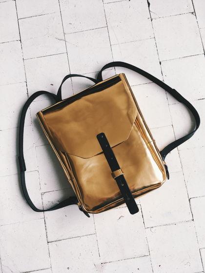 Рюкзак золотой зеркальный кожаный маленький