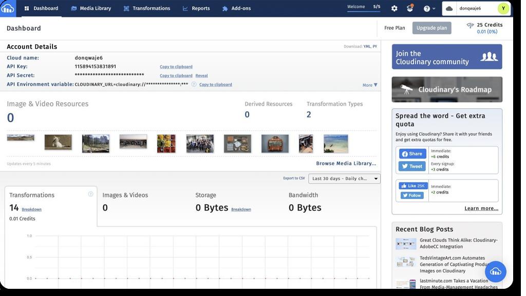 Cloudinary web interface: main dashboard
