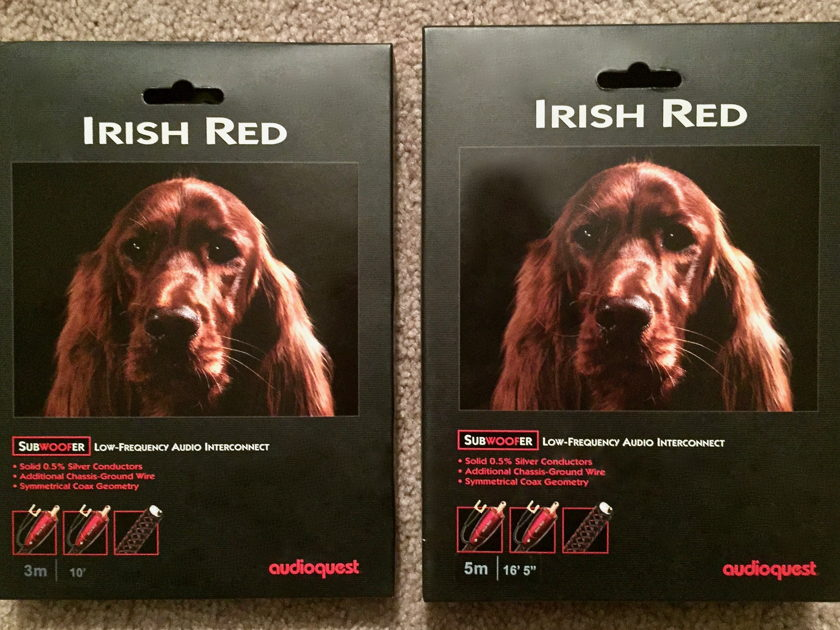 """AudioQuest """"Irish Red"""" Subwoofer Cables Low-Frequency Audio IC's, 5m & 3m Pair, BRAND NEW!"""