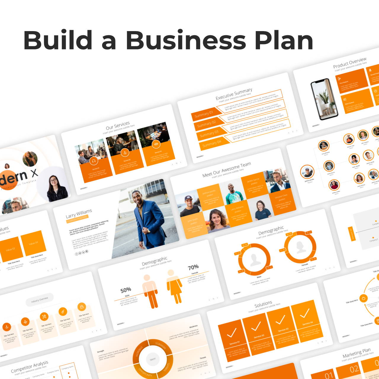 Modern X Presentation Template Business Plan