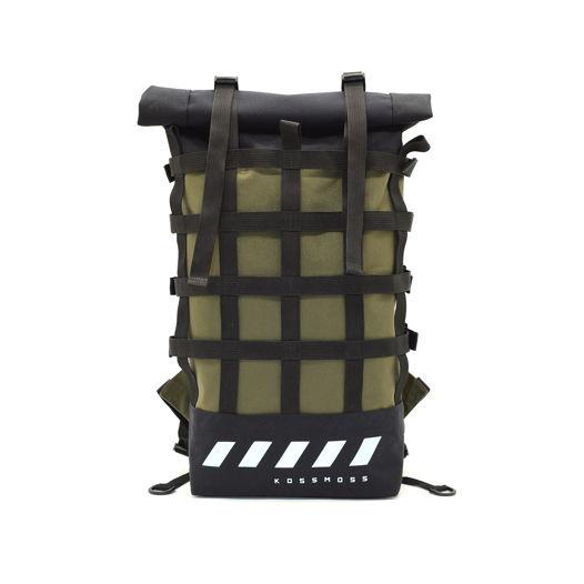 Оливковый рюкзак / Ролл топ сумка / Olive green webbing reflective backpack