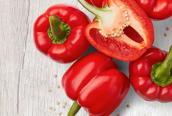 red bell pepper with seeds and stem