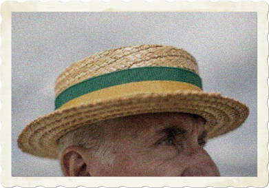 Straw Boater with Yellow and Green Ribbon