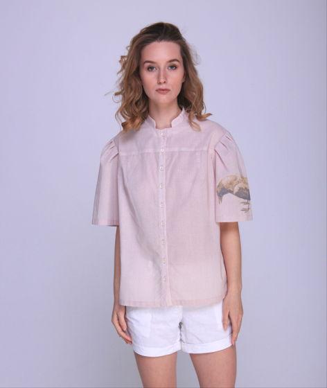 Женская блуза из ретро-хлопка с печатью на рукаве