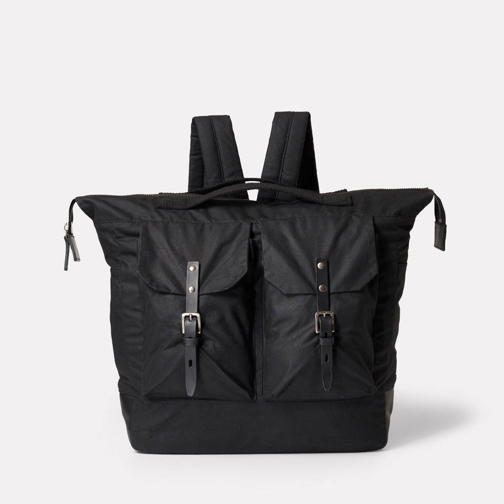 Frank Large Waxed Cotton Backpack in Black