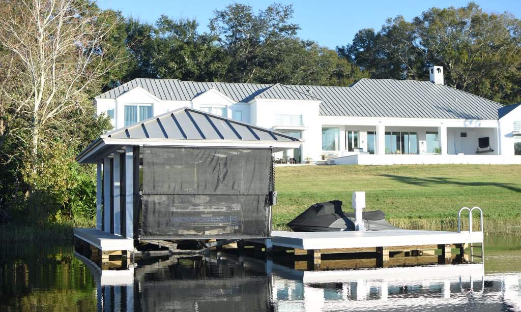 Boat Dock with Boat Cover