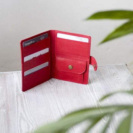 """Красное женское портмоне, холдер для паспорта, карт, банкнот и мелочи """"Коралл"""""""