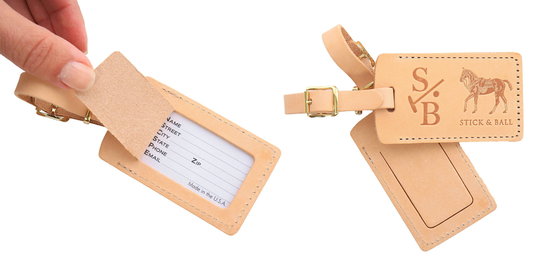 Equestrian inspired vegetable-tanned leather luggage tags with Stick & Ball logo & Polo Pony
