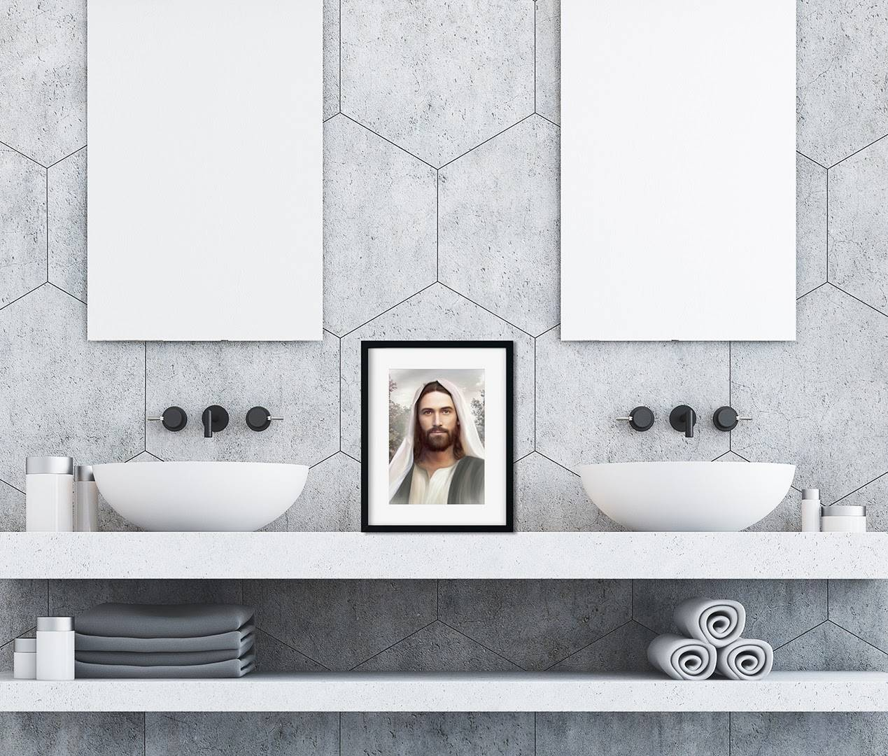 Small art portrait of Christ placed between two bathroom mirrors.