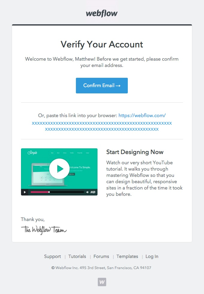 webflow asks users to verify account in order to keep their information up to date