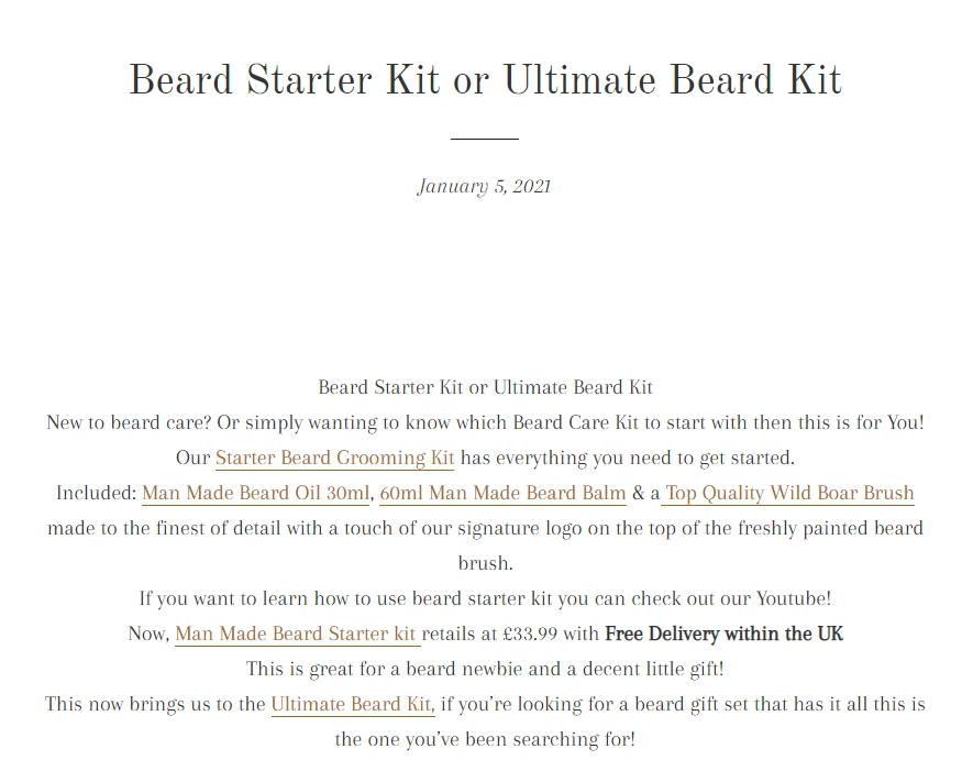 Man Made Beard Starter Kit Or Man Made Ultimate Beard Kit