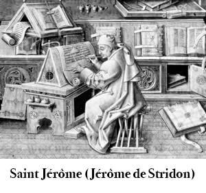 Image d'une gravure d'un moine tel que St-Jérôme