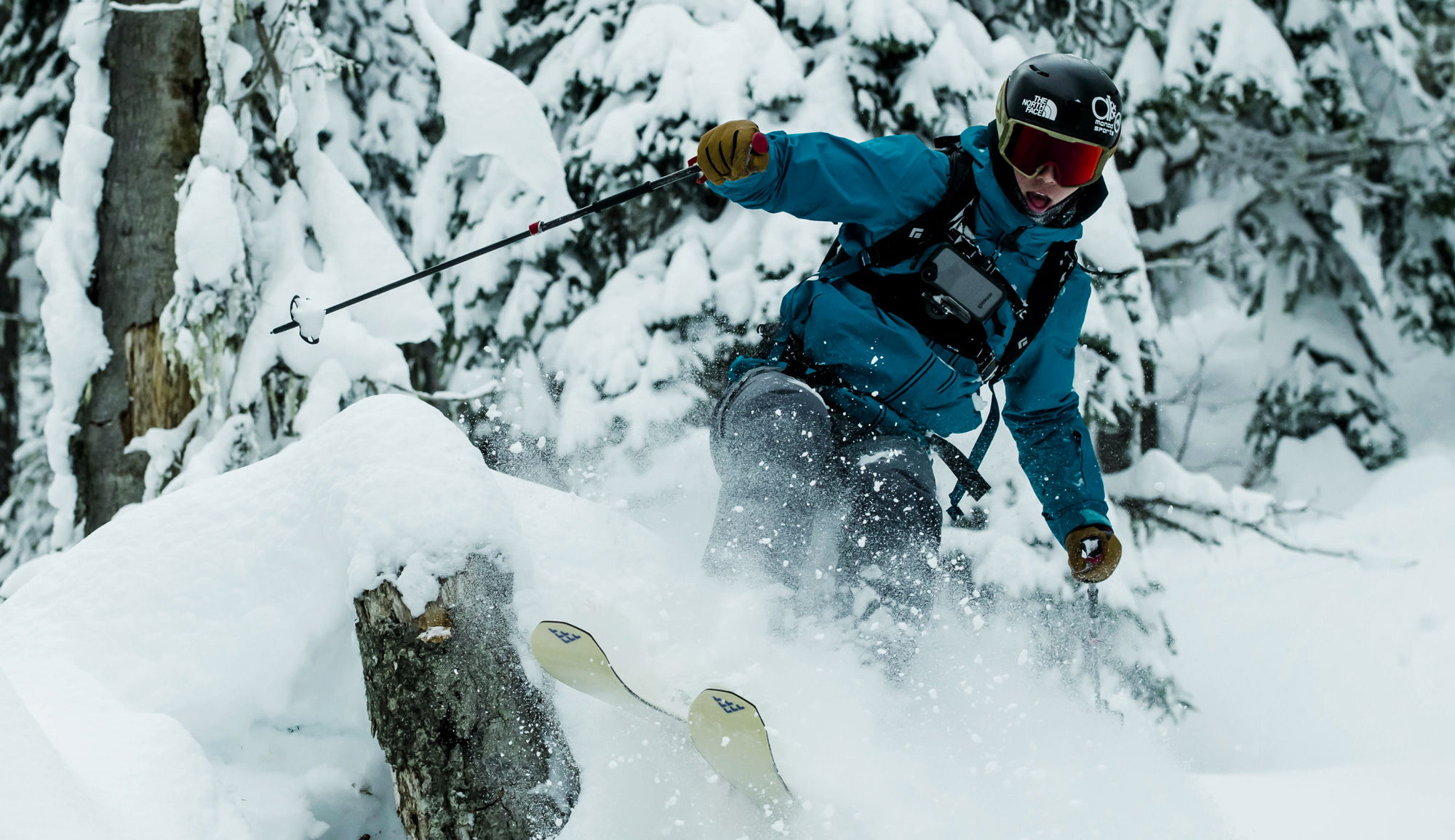 skiier brandon long sporting a hitcase pro and chestr chest mount harness