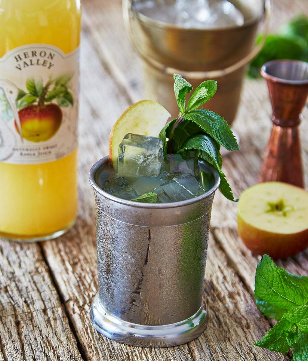 mint julep cocktail with apple juice